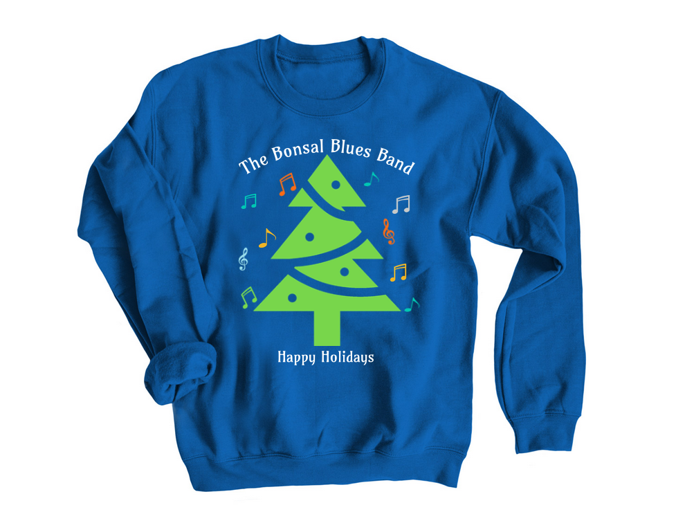 blue bonsal christmas sweater front